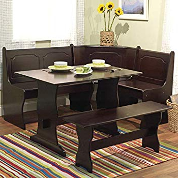 Maloney 3 Piece Breakfast Nook Dining Sets With Most Current Amazon : Breakfast Nook 3 Piece Corner Dining Set, Black (View 12 of 20)