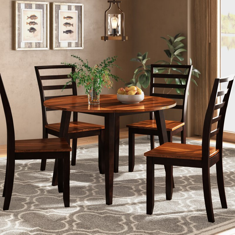 Millwood Pines Hidalgo 5 Piece Drop Leaf Solid Wood Breakfast Nook Regarding Newest Hanska Wooden 5 Piece Counter Height Dining Table Sets (set Of 5) (View 5 of 20)