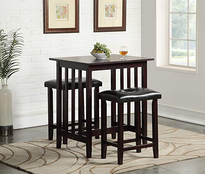 Moorehead 3 Piece Counter Height Dining Sets Regarding Trendy Amazon – Roundhill Furniture 3 Piece Counter Height Dining Set (View 10 of 20)