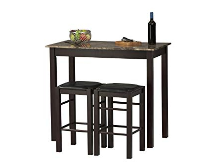 Most Current Amazon – Linon Tavern Collection 3 Piece Table Set – Table Inside Valladares 3 Piece Pub Table Sets (View 6 of 20)