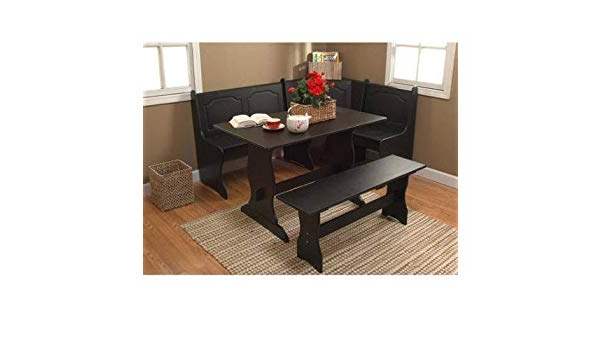 Most Popular Amazon : Breakfast Nook 3 Piece Corner Dining Set, Black Inside Maloney 3 Piece Breakfast Nook Dining Sets (View 15 of 20)