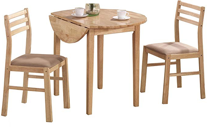 Most Popular Baillie 3 Piece Dining Sets Throughout Amazon – 3 Piece Dining Set With Drop Leaf Beige And Natural (View 18 of 20)