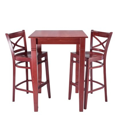 Most Popular Darby Home Co Eadie Wood Seat 3 Piece Pub Table Set (View 14 of 20)