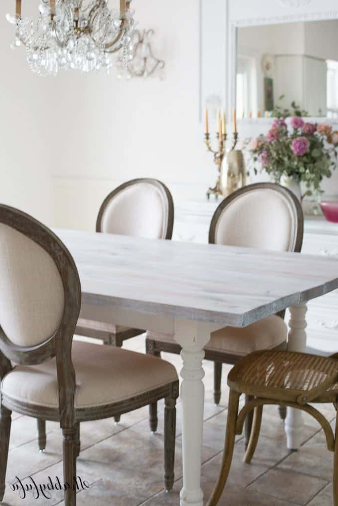 Most Popular Falmer 3 Piece Solid Wood Dining Sets Intended For Whitewashing A Farmhouse Table In 30 Minutes – Shabbyfufu (View 6 of 20)