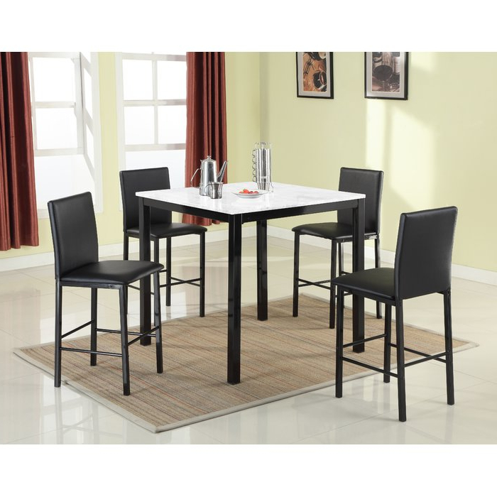 Most Popular Red Barrel Studio Ariandne Faux Marble 5 Piece Counter Height Dining Regarding Aria 5 Piece Dining Sets (Gallery 7 of 20)
