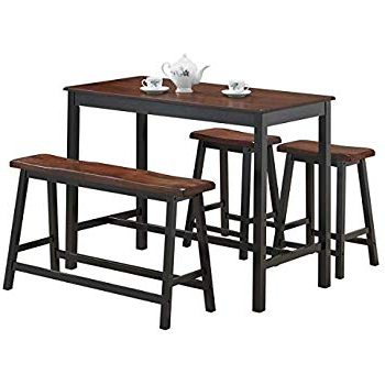 Most Popular Winsted 4 Piece Counter Height Dining Sets With Regard To Amazon – Crown Mark Tyler 4 Piece Counter Height Table Set (Gallery 8 of 20)