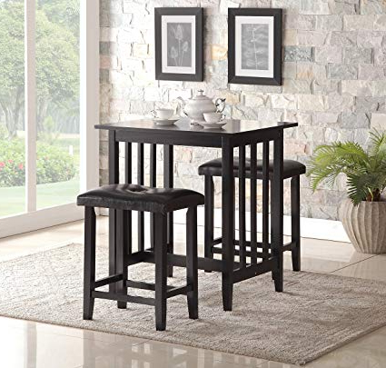 Most Recent Amazon – Roundhill Furniture 3 Piece Counter Height Dining Set Pertaining To Moorehead 3 Piece Counter Height Dining Sets (View 9 of 20)