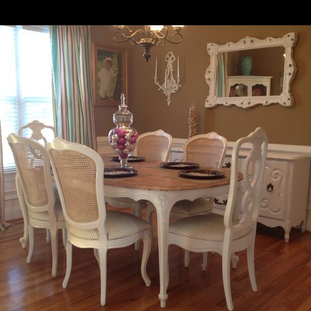 Most Recent Evellen 5 Piece Solid Wood Dining Sets (Set Of 5) Within Gorgeous French Provincial Dining Set For Sale (View 11 of 20)
