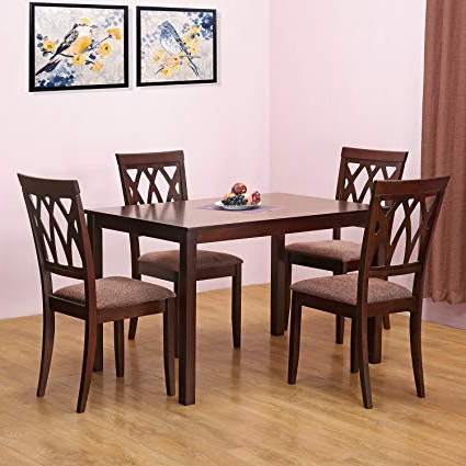 Most Recent Frida 3 Piece Dining Table Sets Inside Homenilkamal Peak Four Seater Dining Table Set (Cappucino (Gallery 14 of 20)