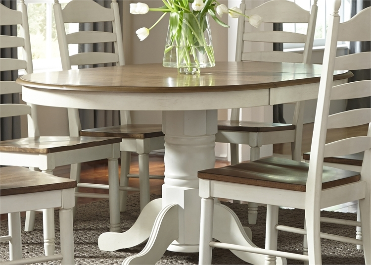 Most Recent Springfield 3 Piece Dining Sets Inside Springfield Pedestal Table 7 Piece Dining Set In Two Tone Honey (View 10 of 20)