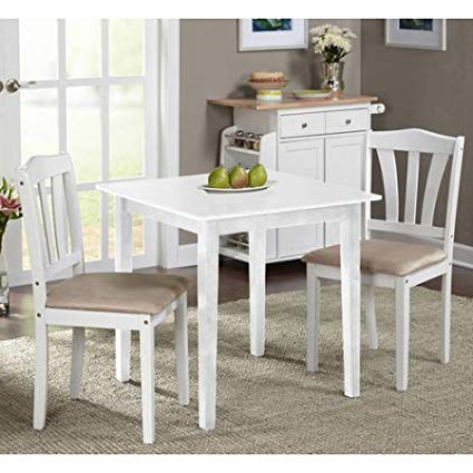 Most Recently Released Amazon – Metropolitan 3 Piece Dining Set (White) – Table & Chair For 3 Piece Dining Sets (Gallery 11 of 20)