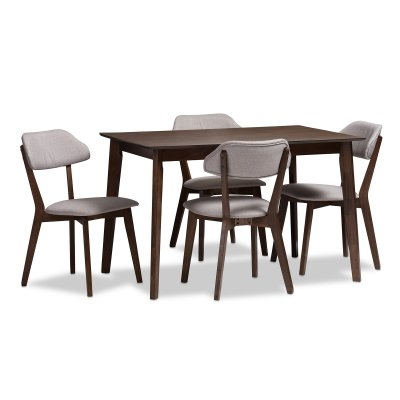 Most Recently Released Baxton Studio Matilda 5 Piece Rectangular Dining Table Set Intended For Telauges 5 Piece Dining Sets (View 11 of 20)