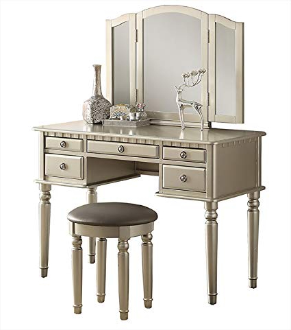 Most Recently Released Saintcroix 3 Piece Dining Sets Within Amazon: Bobkona F4079 St. Croix Collection Vanity Set With Stool (Gallery 19 of 20)
