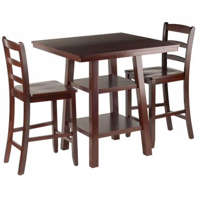 Most Recently Released Winsome 3 Piece Counter Height Dining Sets Intended For Winsome Wood Orlando 3 Piece Set High Table 2 Shelves With 2 Ladder (Gallery 3 of 20)