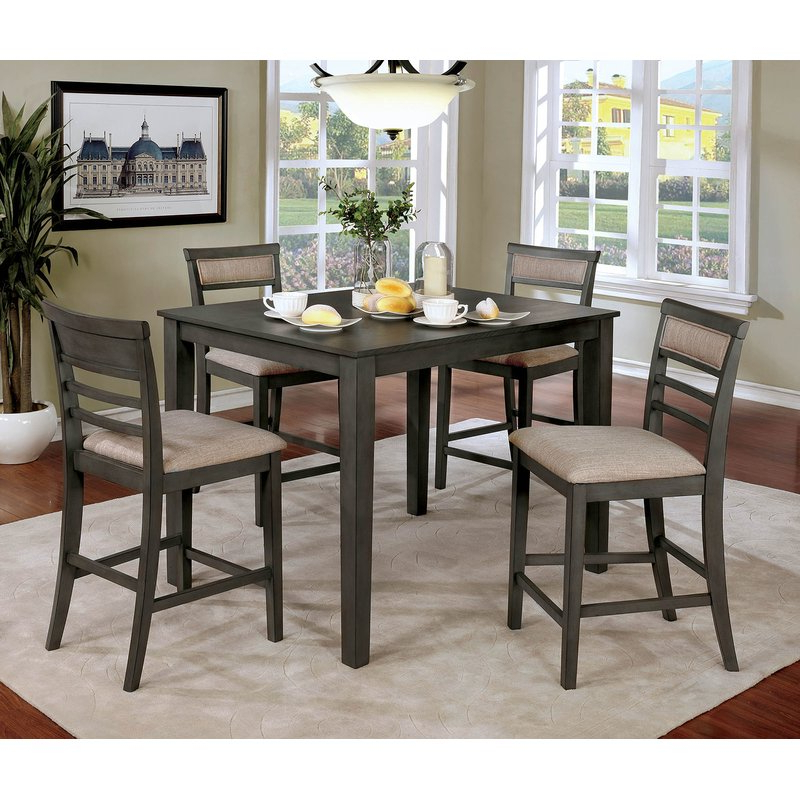 Most Up To Date Red Barrel Studio Hansford Wooden 5 Piece Counter Height Dining Regarding Hanska Wooden 5 Piece Counter Height Dining Table Sets (set Of 5) (View 3 of 20)