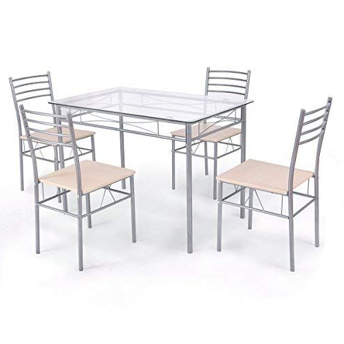 Most Up To Date Stouferberg 5 Piece Dining Sets Intended For Giantex 5 Piece Dining Set Table And 4 Chairs Glass Top Kitchen (View 13 of 20)