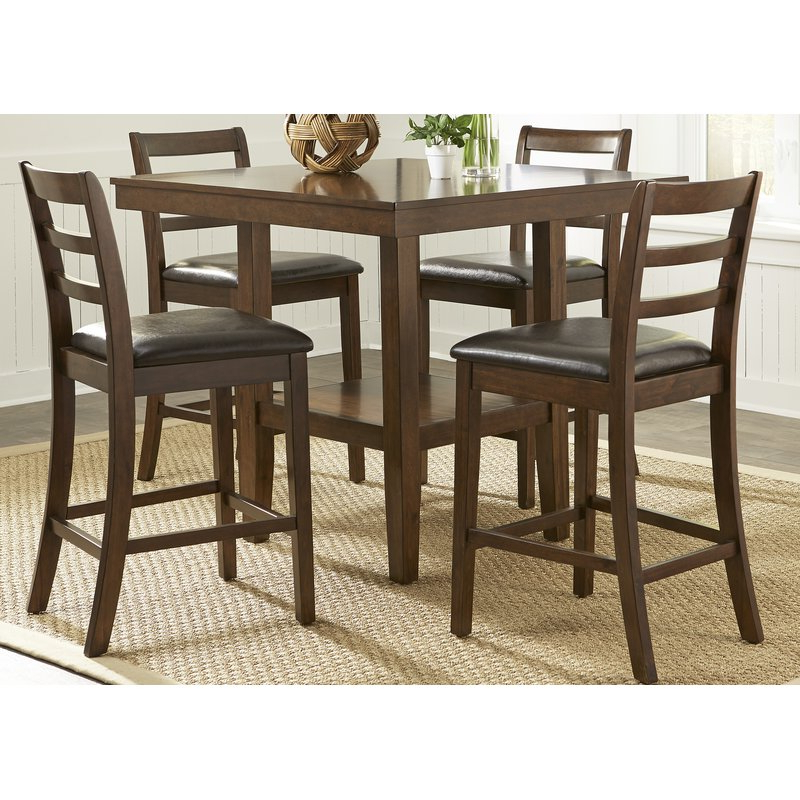 Most Up To Date West Hill Family Table 3 Piece Dining Sets Intended For Alcott Hill Gosselin Contemporary 5 Piece Counter Height Dining Set (View 4 of 20)