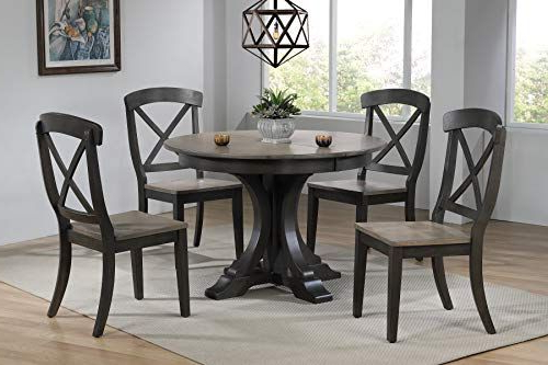 Mukai 5 Piece Dining Sets With Fashionable Iconic Furniture Company Rd45 Deco Bks Ch60 Grs Bks Dinning Set (Gallery 16 of 20)