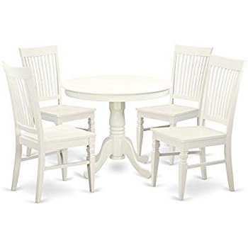 Mulvey 5 Piece Dining Sets Pertaining To 2018 Amazon – Angel Line 23511 21 5 Piece Lindsey Dining Set, White (Gallery 9 of 20)