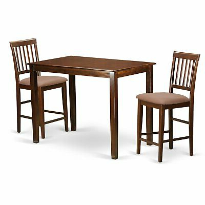 Natural Solid Wood 3 Piece Counter Height Dining Set (Gallery 8 of 20)