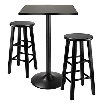 Newest Amazon – Winsome Obsidian 3 Piece Pub Table Set – Table & Chair Sets Within Valladares 3 Piece Pub Table Sets (View 4 of 20)