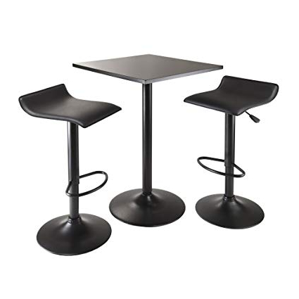 Newest Amazon: Winsome Obsidian 3 Piece Table Set With Square Counter With Winsome 3 Piece Counter Height Dining Sets (Gallery 7 of 20)