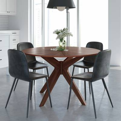 Newest Amir 5 Piece Solid Wood Dining Sets (Set Of 5) With Kling Dining Table & Reviews (Gallery 17 of 20)