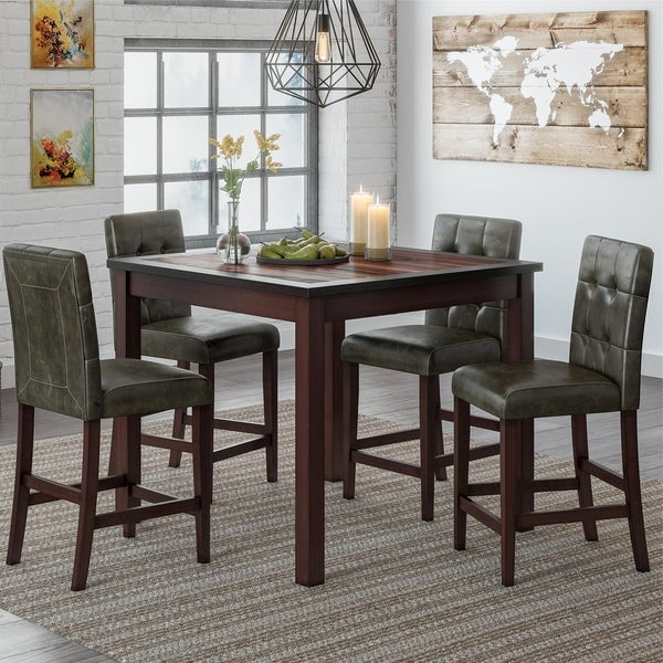 Newest Bettencourt 3 Piece Counter Height Solid Wood Dining Sets Intended For Shop Gracewood Hollow Betancourt Espresso 5 Piece Counter Height (Gallery 4 of 20)