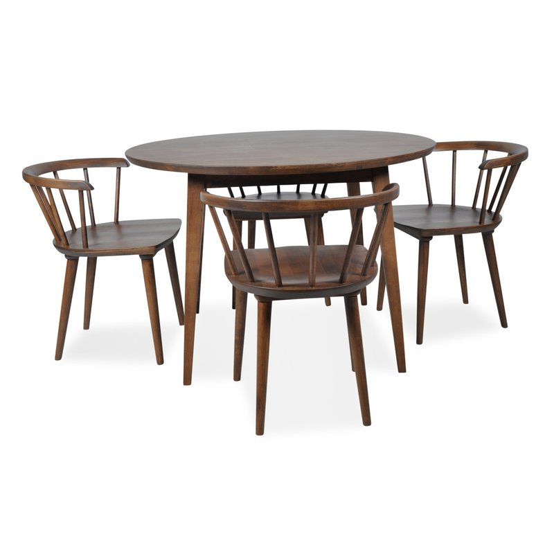 Newest Burgan 5 Piece Solid Wood Breakfast Nook Dining Set & Reviews Throughout 5 Piece Breakfast Nook Dining Sets (Gallery 13 of 20)