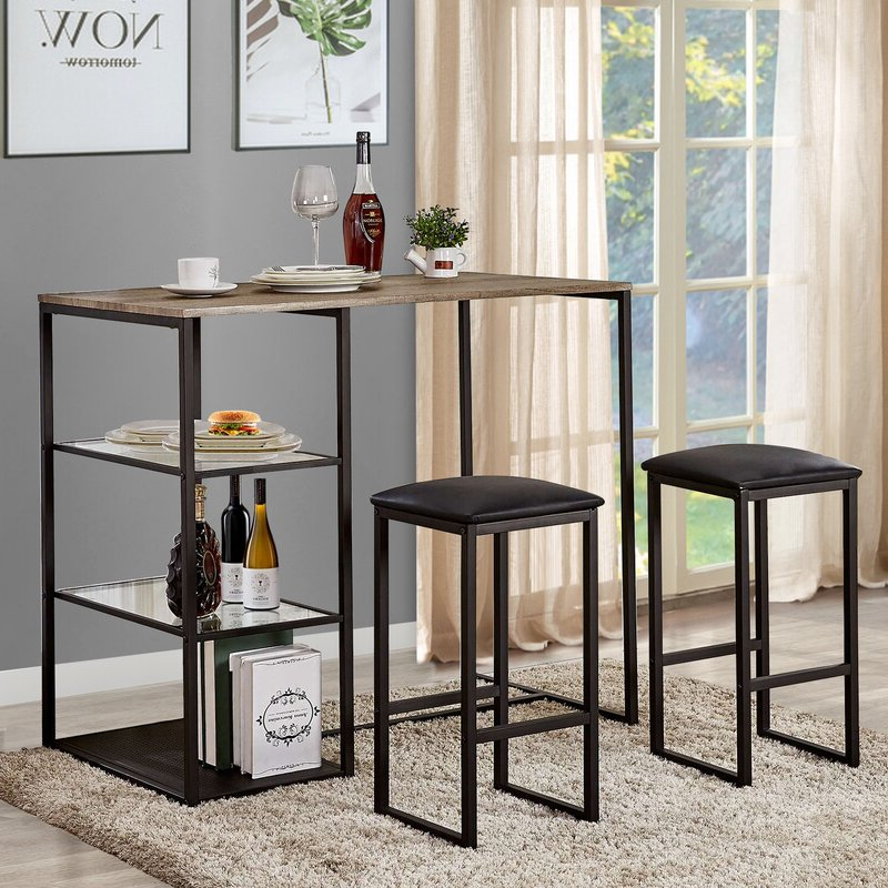 Newest Ebern Designs Ligon 3 Piece Breakfast Nook Dining Set & Reviews Pertaining To Lillard 3 Piece Breakfast Nook Dining Sets (View 9 of 20)
