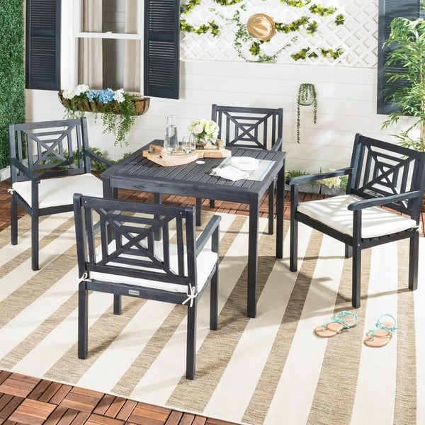 Newest Shop Safavieh Outdoor Living Del Mar 5 Pc Dining Set – Dark Slate Regarding Delmar 5 Piece Dining Sets (View 9 of 20)