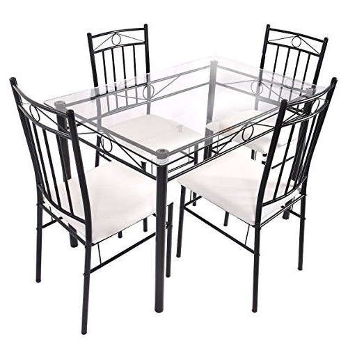 Newest Stouferberg 5 Piece Dining Sets Pertaining To Set 5Pcs Glass Top Dining Table Set W/ 4 Upholstered Chair Ebook (View 12 of 20)