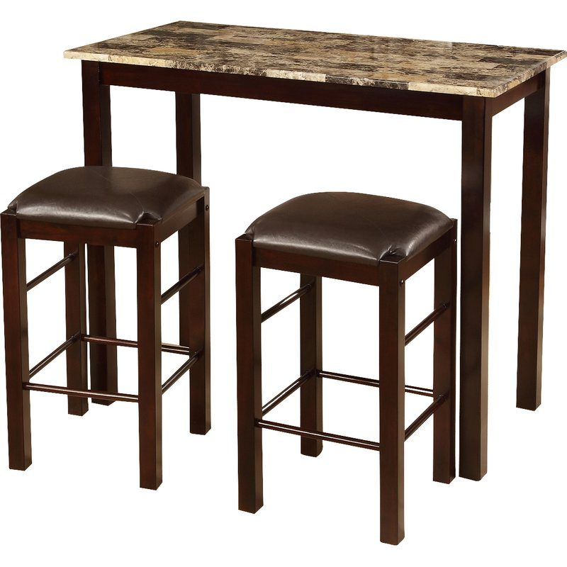 Newest Winston Porter Penelope 3 Piece Counter Height Wood Dining Set In Penelope 3 Piece Counter Height Wood Dining Sets (View 9 of 20)
