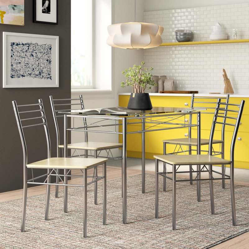 Newest Zipcode Design North Reading 5 Piece Dining Table Set & Reviews Throughout North Reading 5 Piece Dining Table Sets (Gallery 1 of 20)