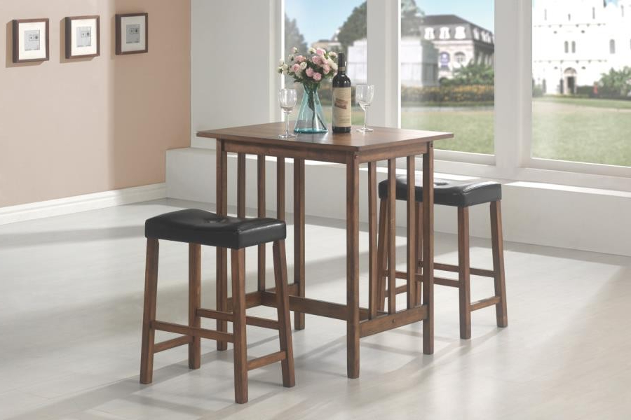 Packaged Sets: 3 Pc Set – Casual Brown Three Piece Table Set In Current Bedfo 3 Piece Dining Sets (Gallery 11 of 20)