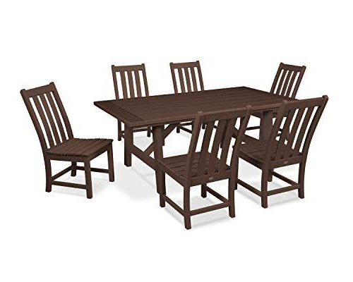 Polywood Vineyard 7 Piece Rustic Farmhouse Side Chair Dining Set In Well Liked Travon 5 Piece Dining Sets (View 20 of 20)