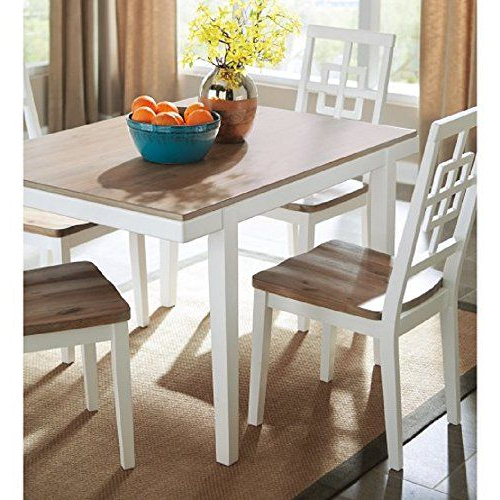 Popular 5 Piece Dining Set, Farmhouse Style 2 Toned Rectangular Table & 4 Intended For Kaya 3 Piece Dining Sets (View 12 of 20)