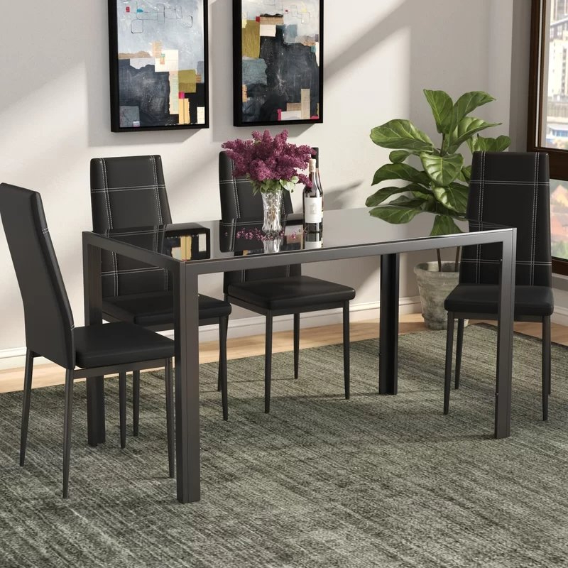 Popular Autberry 5 Piece Dining Sets Throughout Ebern Designs Maynard 5 Piece Dining Set & Reviews (View 16 of 20)