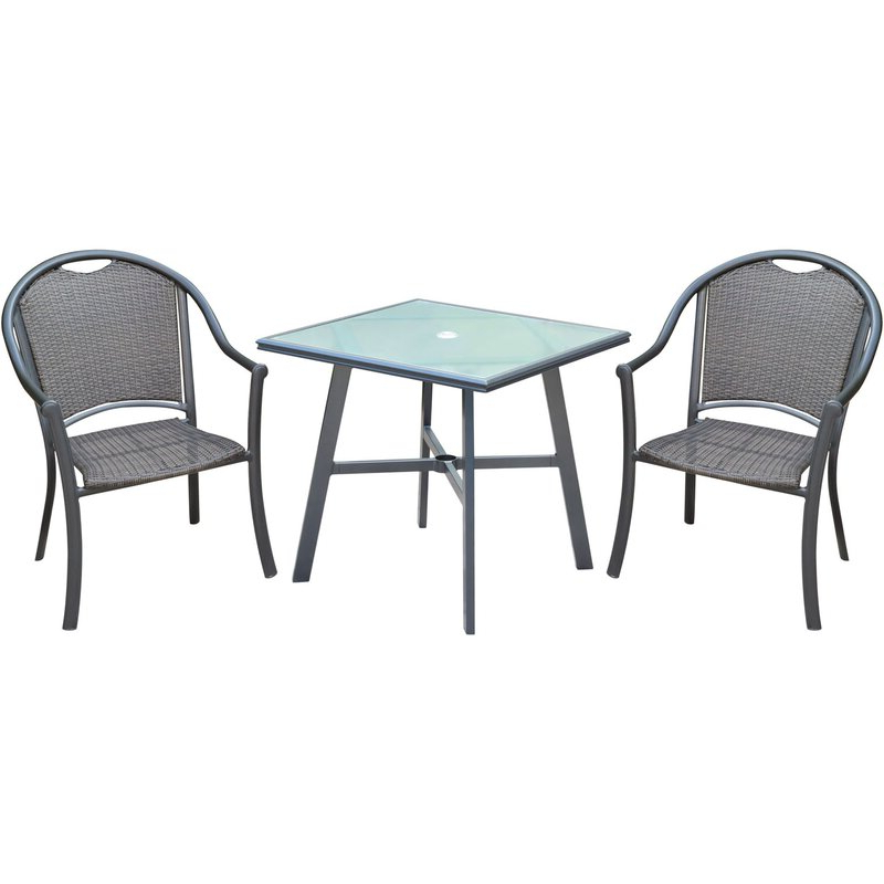 Popular Charlton Home Bearden 3 Piece Commercial Grade Patio Set With 2 For Bearden 3 Piece Dining Sets (View 15 of 20)