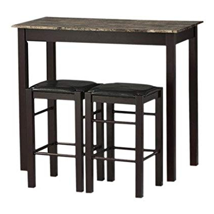 Popular Tappahannock 3 Piece Counter Height Dining Sets With Amazon – Charlton Home 3 Piece Prosser Collection Faux Marble (View 12 of 20)