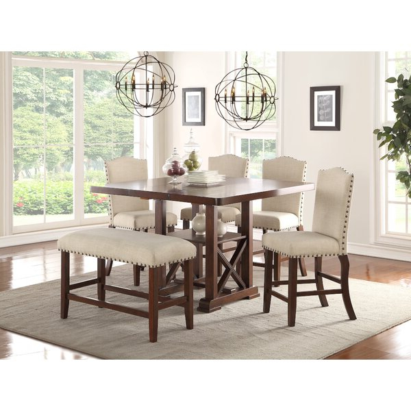 Preferred 1 Aguero 7 Piece Counter Height Extendable Solid Wood Pub Table Set Throughout Hood Canal 3 Piece Dining Sets (Gallery 16 of 20)