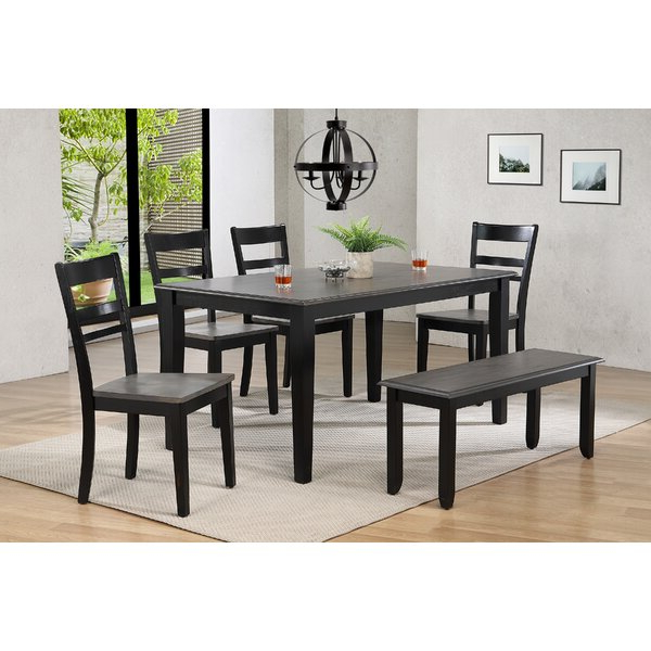 Preferred 2 Tempo Brook 6 Piece Extendable Solid Wood Dining Setgracie In Hanska Wooden 5 Piece Counter Height Dining Table Sets (set Of 5) (View 19 of 20)
