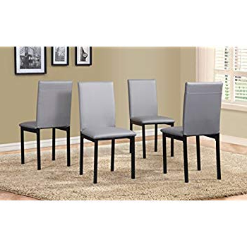 Preferred Amazon – Roundhill Furniture C007Gy Noyes Faux Leather Metal Within Noyes 5 Piece Dining Sets (Gallery 11 of 20)