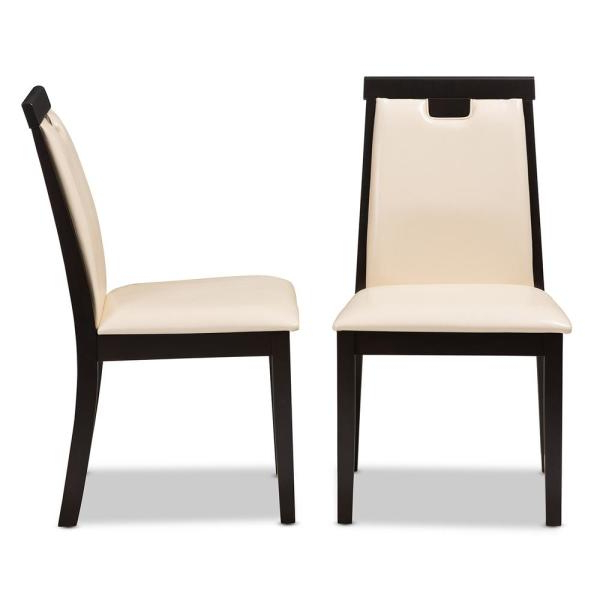 Preferred Baxton Studio Evelyn Beige And Dark Brown Faux Leather Dining Chair Throughout Evellen 5 Piece Solid Wood Dining Sets (Set Of 5) (Gallery 16 of 20)