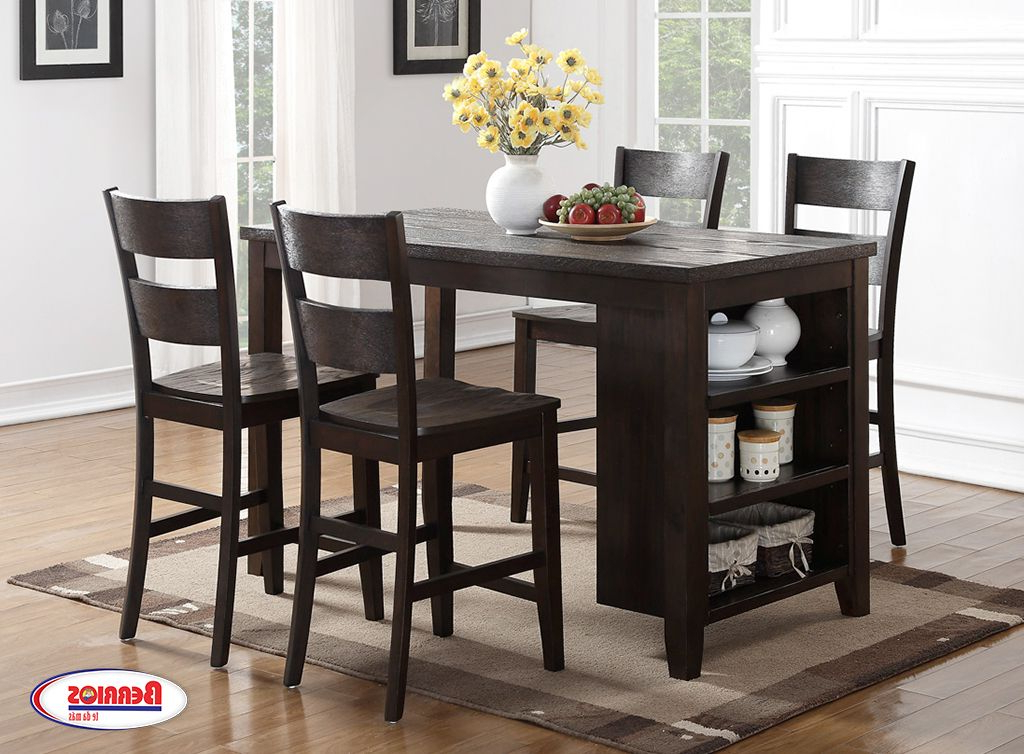 Preferred Berrios 3 Piece Counter Height Dining Sets Inside 8204 Pub Table Dark Chocolate Dining Room In  (View 16 of 20)