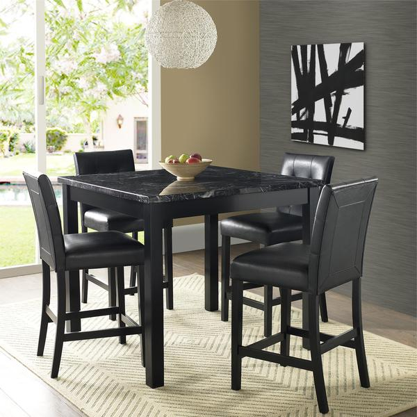 Preferred Bettencourt 3 Piece Counter Height Solid Wood Dining Sets Intended For Shop Gracewood Hollow Khorenatsi Faux Marble Counter Height Dining (Gallery 17 of 20)