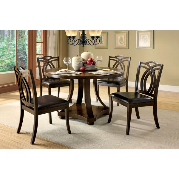 Preferred Biggs 5 Piece Counter Height Solid Wood Dining Sets (set Of 5) Pertaining To Furniture Of America Briggs Contemporary Dark Walnut 48 Inch Dining (View 17 of 20)