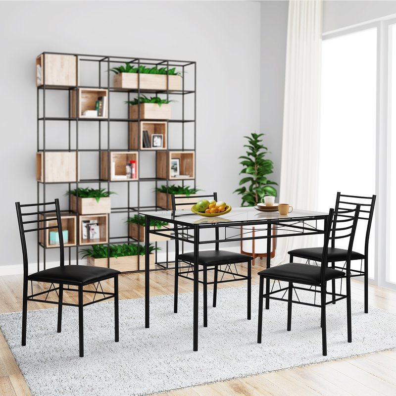 Preferred Ebern Designs Lightle 5 Piece Breakfast Nook Dining Set & Reviews Within Liles 5 Piece Breakfast Nook Dining Sets (View 18 of 20)