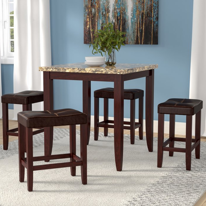 Preferred Latitude Run Dejean 5 Piece Counter Height Dining Set & Reviews In Askern 3 Piece Counter Height Dining Sets (Set Of 3) (Gallery 7 of 20)