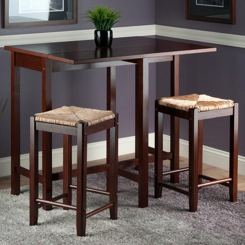 Preferred Red Barrel Studio Bettencourt 3 Piece Counter Height Solid Wood Regarding Bettencourt 3 Piece Counter Height Dining Sets (Gallery 6 of 20)